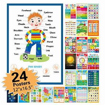 24 Pack Educational Posters for Preschool,Classroom