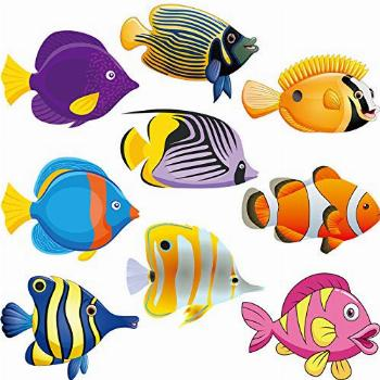 45 Pieces Fish Cut-Outs Paper Colorful Classroom Decoration