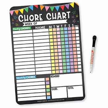 Colorful Chalk Dry Erase Chore Chart for Multiple Kids,