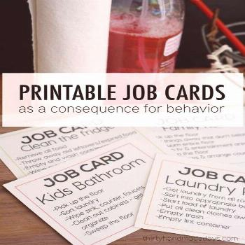 DIY Chore Charts - Printable Job Cards for Teens and Tweens as a Consequence for Kids Bad Behavior