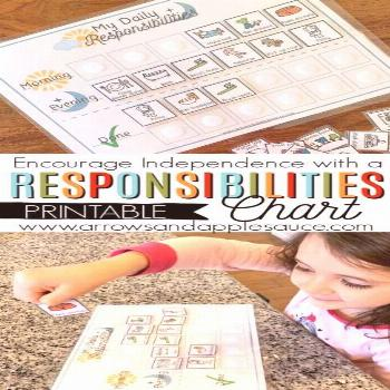 Encouraging Independence   PRINTABLE Kid's Daily Responsibilities Chart - Arrows & Applesauce