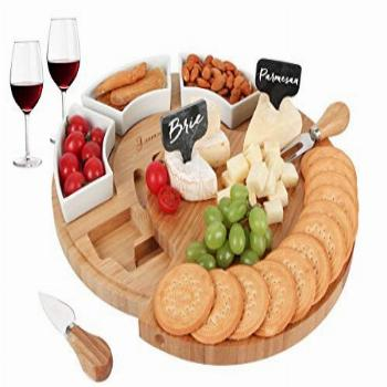 FunLect Bamboo Cheese Board Set –Serving Tray and Cheese