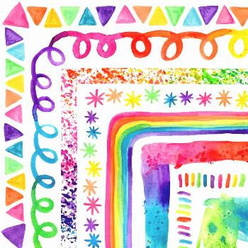 MORE Colorful Rainbow Watercolor Borders  Hand painted watercolor rainbow borders are perfect for d