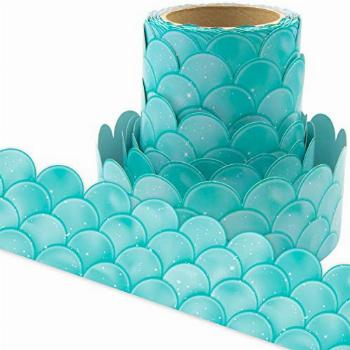 Ombre Turquoise Scallops Bulletin Board Borders for