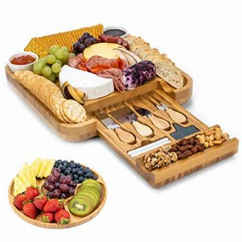 Smirly Cheese Board and Knife Set: 13 x 13 x 2 Inch Wood