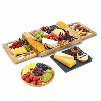SMIRLY Cheese Board and Knife Set: Large Charcuterie Board