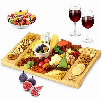 Unique Bamboo Cheese Board, Charcuterie Platter and Serving