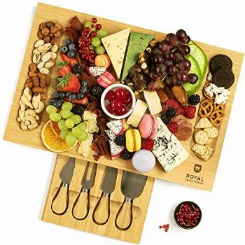 Unique Bamboo Cheese Board, Charcuterie Platter & Serving