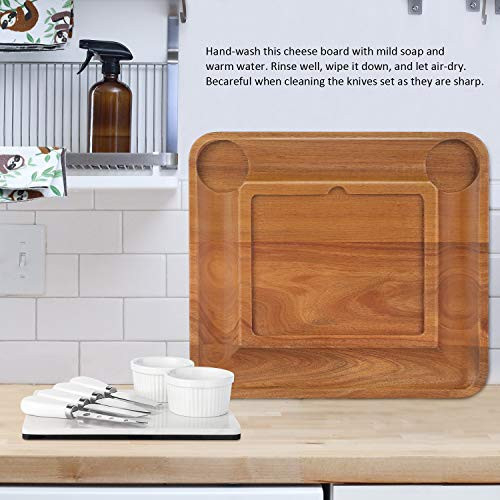 ABELL Cheese Board and Knife Sets, Acacia Charcuterie Boards