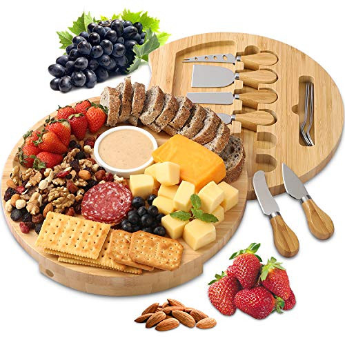 BOLTLINK Cheese Board and Knife Set, Bamboo Round