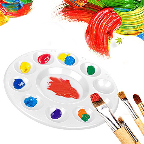 CENTSTAR 15 Pcs Round Paint Tray Palettes Plastic for