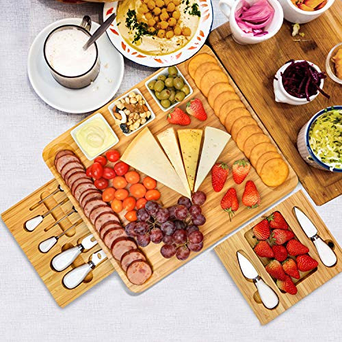 Cheese Board and Knife Set, Bamboo Charcuterie Boards Large