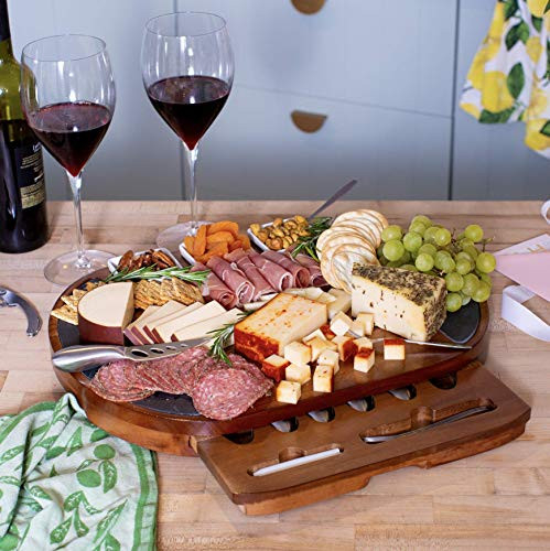 Large Round Charcuterie Board Set - Giftable 20-Piece Cheese