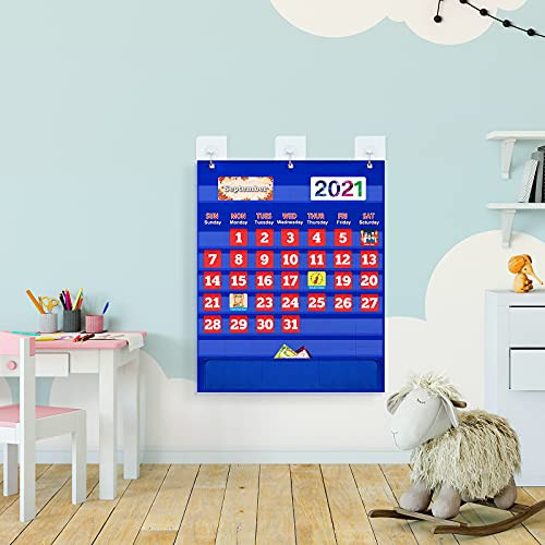 Monthly Calendar Pocket Chart with 114 Cards for Kids