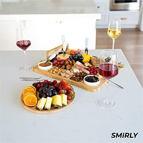 SMIRLY Cheese Board and Knife Set - Charcuterie Board Set,