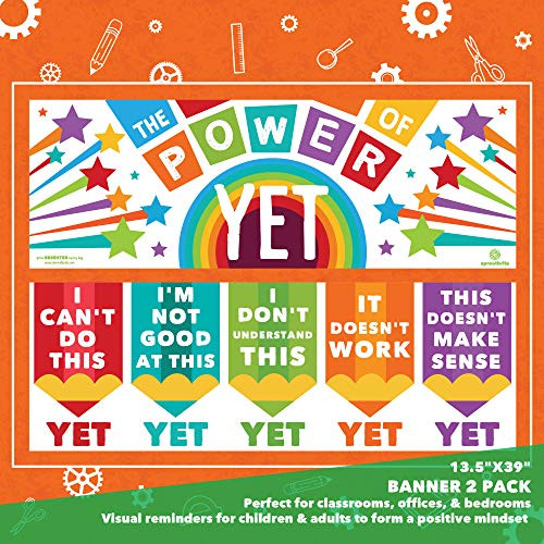 Sproutbrite Growth Mindset Classroom Decorations - Banner