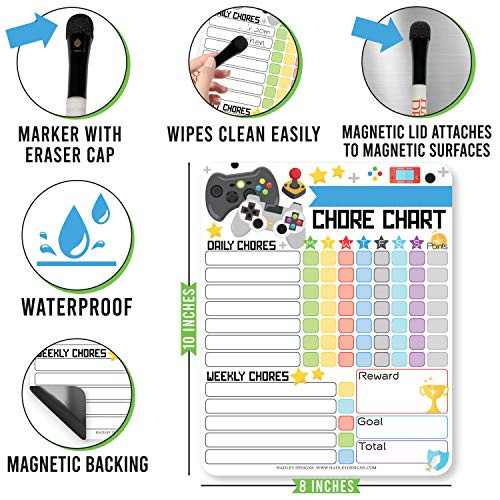 Video Games Kids Chore Chart Magnetic, Reward Chart for